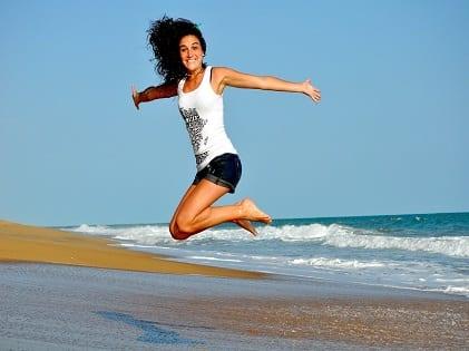 woman jumping healthy